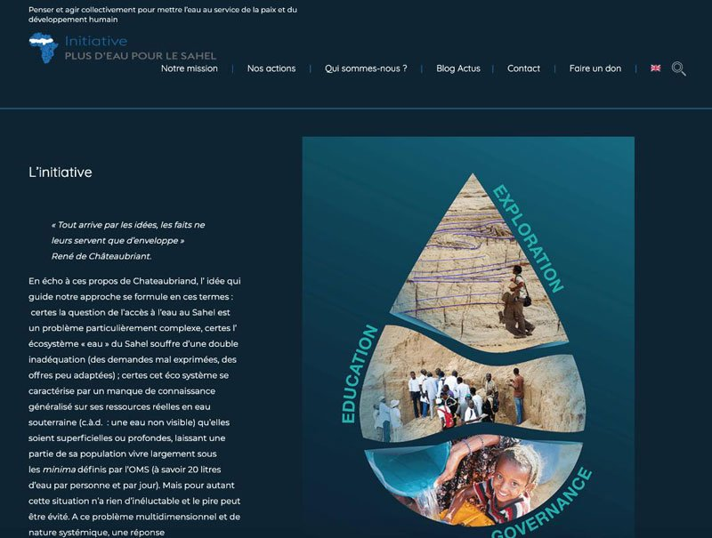 Conception et Realisation site bilingue More Water for Sahel